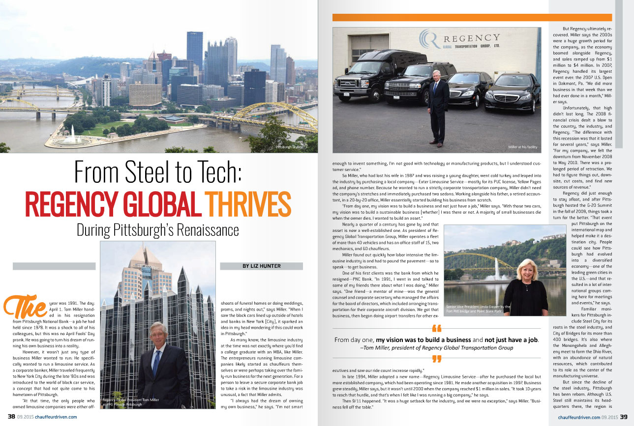 Regency Global Transportation was featured in Chauffeur Driven Magazine's September 2015 issue.